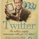 Old time print style ad for Twitter