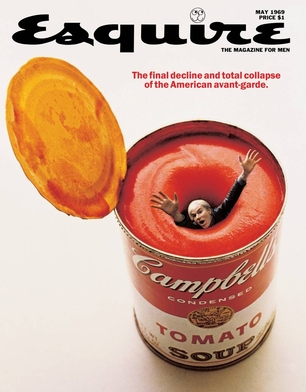 Open can of tomato soup with a man being sucked down a vortex