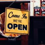 Small business open sign; Grand opening checklist