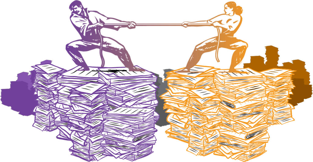 two people on piles of paper pulling on a rope