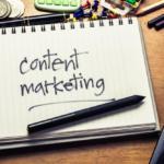 content marketing written on a notebook