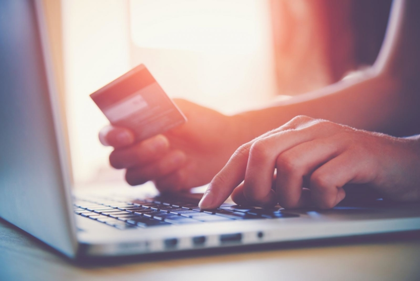 closeup of a person using a laptop and hand holding a credit card
