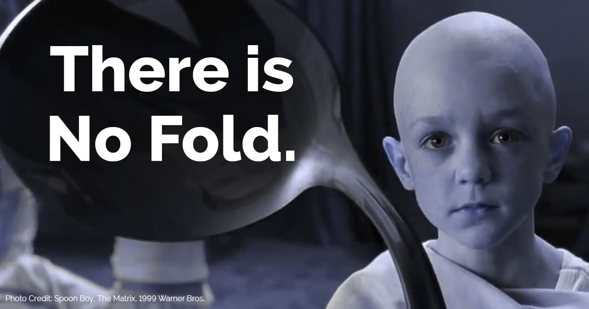 "matrix boy bending spoon with ""there is no fold"" text overlay"