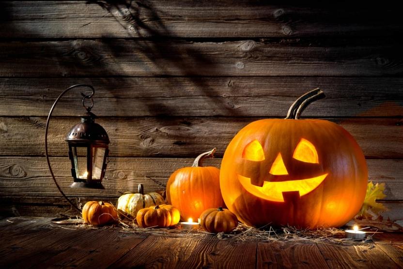 jack o lantern and pumpkins