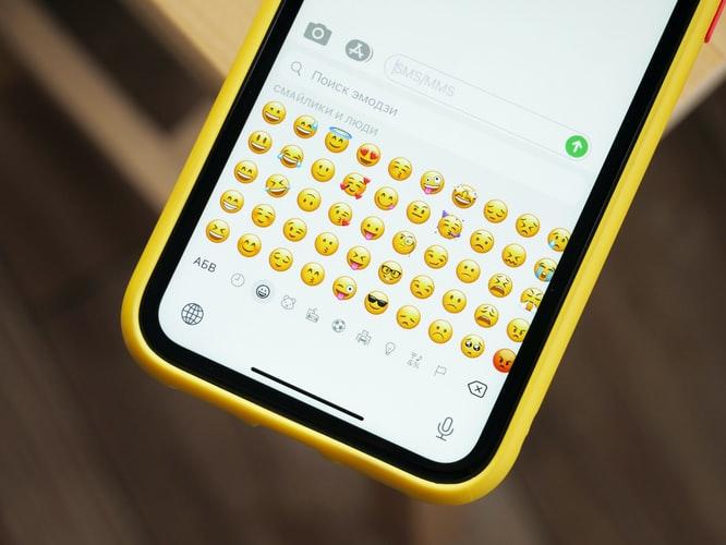 Emoji keyboard on a phone