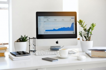 computer monitor with analytics on the screen