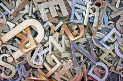 typography concept - pile of iron letters